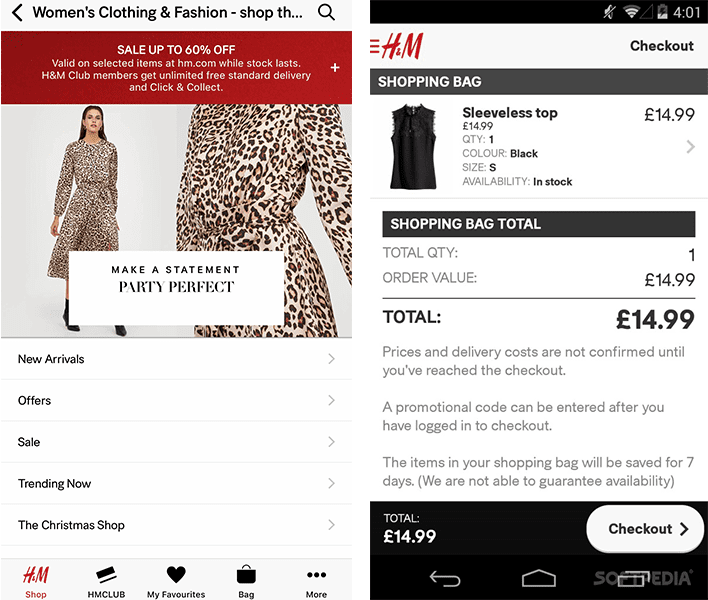 H&M mobile shopping