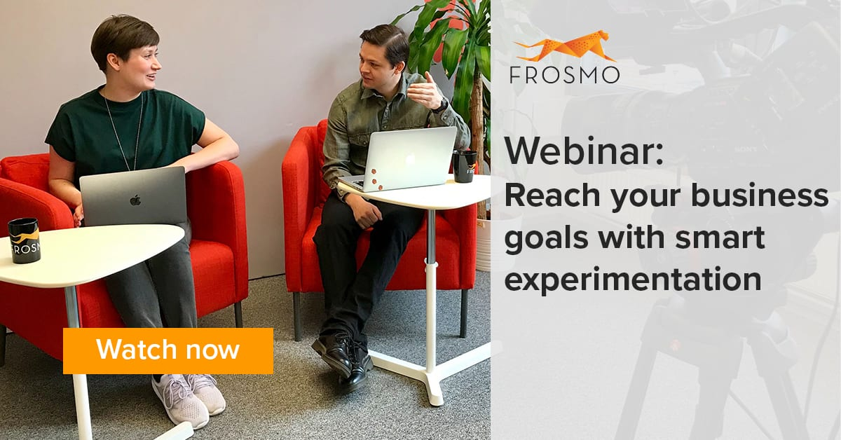 Frosmo webinar about reaching your business goals with smart experimentation