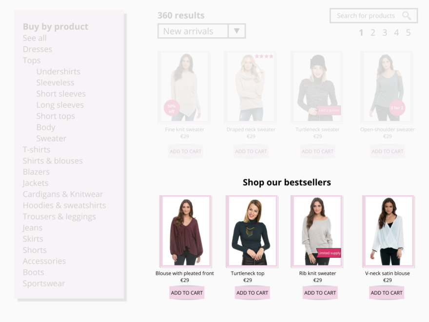 Personalize the category pages for first-time visitors