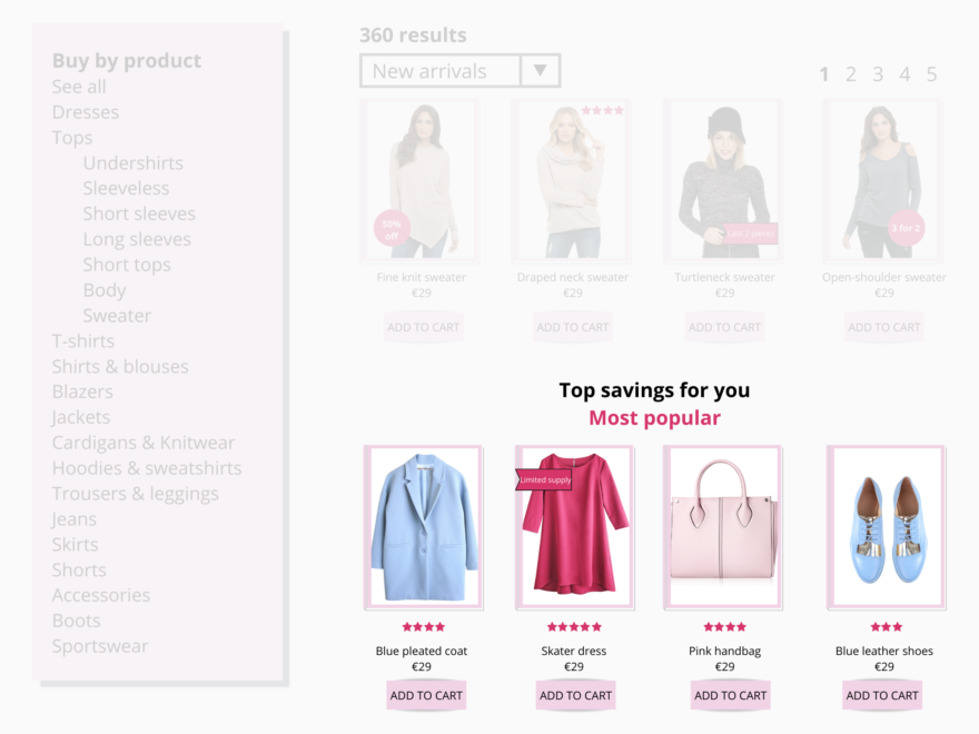Create personalized filters based on visitor affinity to simplify the navigation